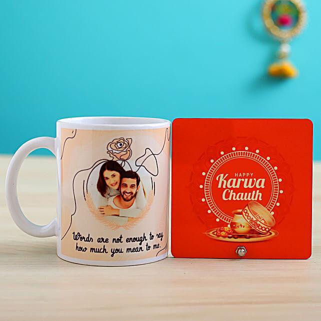 personalised karwa chauth black mug n table top