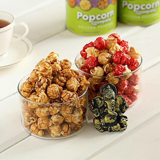 Caramel Krisp & Red Velvet Popcorn With Ganesha:Premium Popcorns