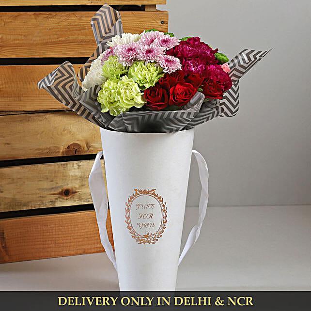 flower cardboard box arrangement