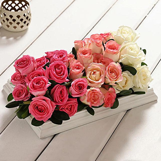 floral wooden frame arrangement:Gift Delivery in Delhi