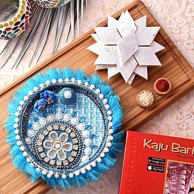 Beautiful Blue Pooja Thali With Kaju Katli Combo:Send Diwali Pooja Thali