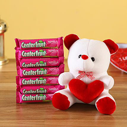 heart teddy bear center fruit combo