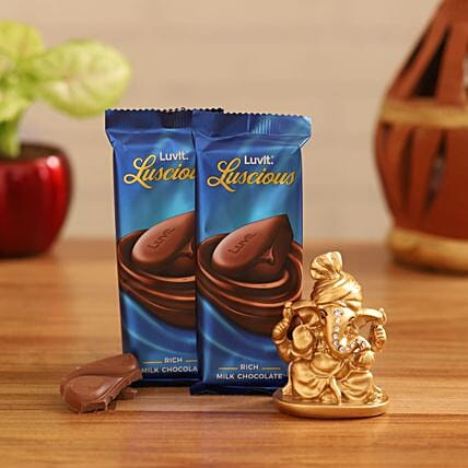 luscious chocolates golden festive ganesha combo