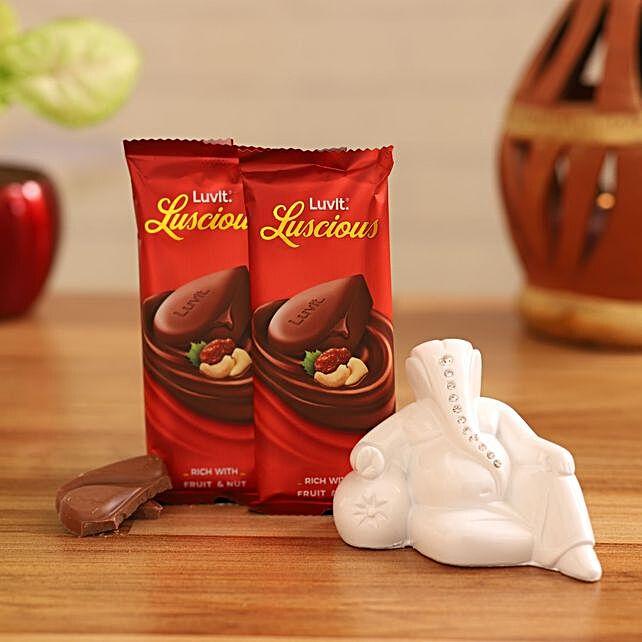 luscious fruit n nut chocolates white ganesha idol combo