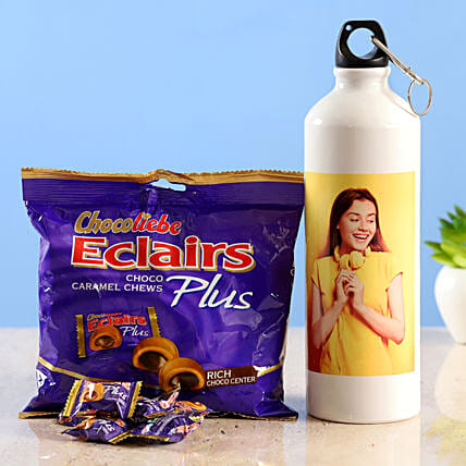 personalised water bottle chocoliebe eclairs