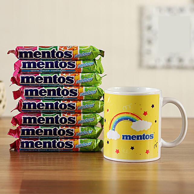 rainbow mentos roll white mug combo