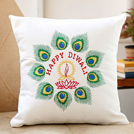 peacock feather embroidered cushion for diwali