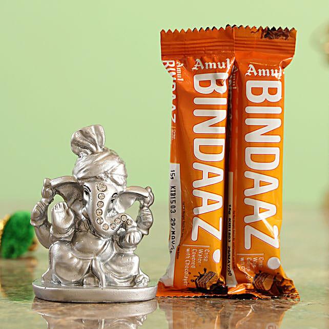 Bindaaz Wafer Choco Bars & Silver Ganesha Idol Combo  Online
