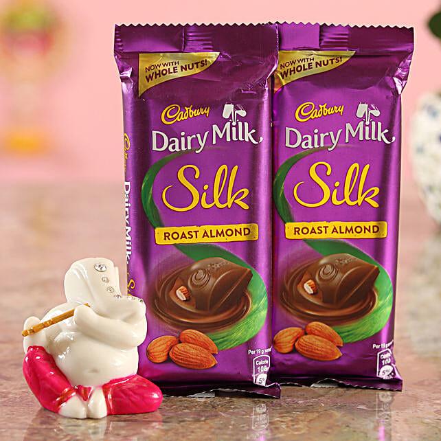 Roast Almond Chocolates & Festive Ganesha Idol Combo  Online