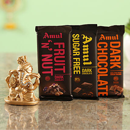 Set Of 3 Amul Chocolates & Festive Ganesha Idol Combo  Online