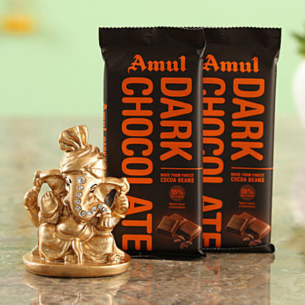 Two Amul Dark Chocolates & Beige Ganesha Idol Combo  Online