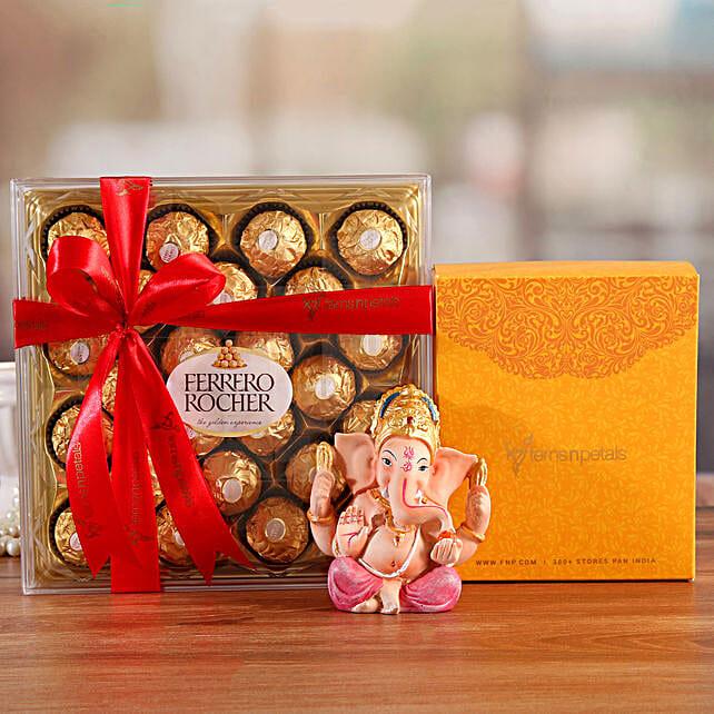 Online  Ganesha Idol And Ferrero Rocher