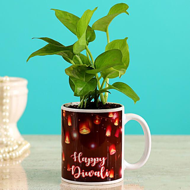 happy diwali printed mug pot n plant