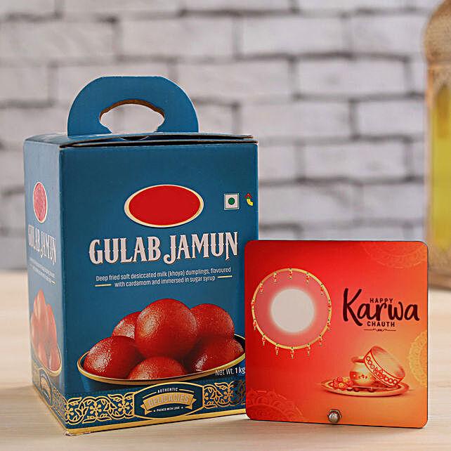 Happy Karwa Chauth Table Top With Gulab Jamun