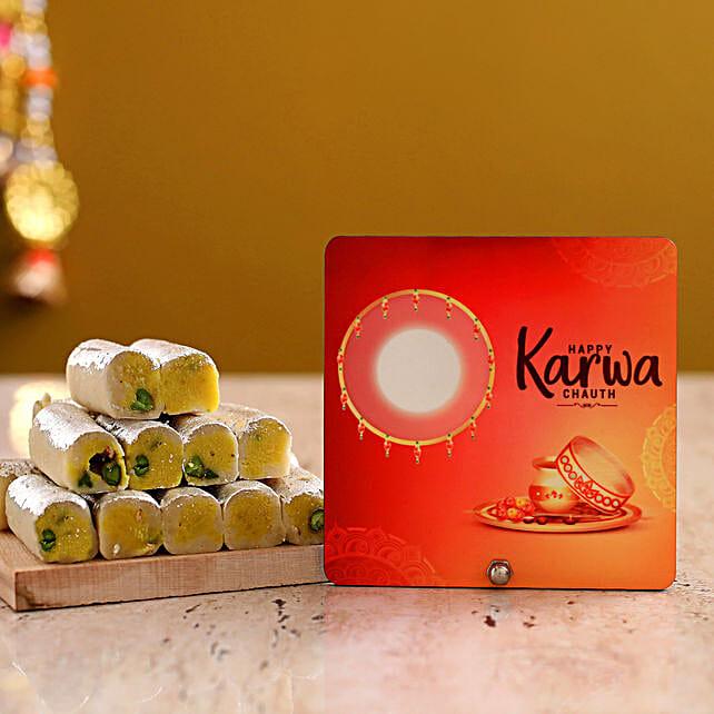 Happy Karwa Chauth Table Top With Kaju Roll