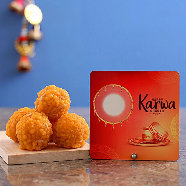 Happy Karwa Chauth Table Top With Motichoor Laddu:Karwa Chauth Sargi