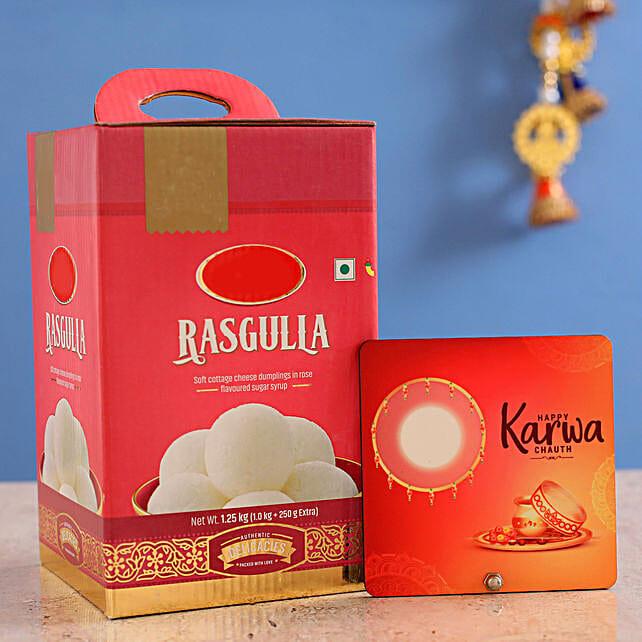 Happy Karwa Chauth Table Top With Rasgulla:Karwa Chauth Sargi
