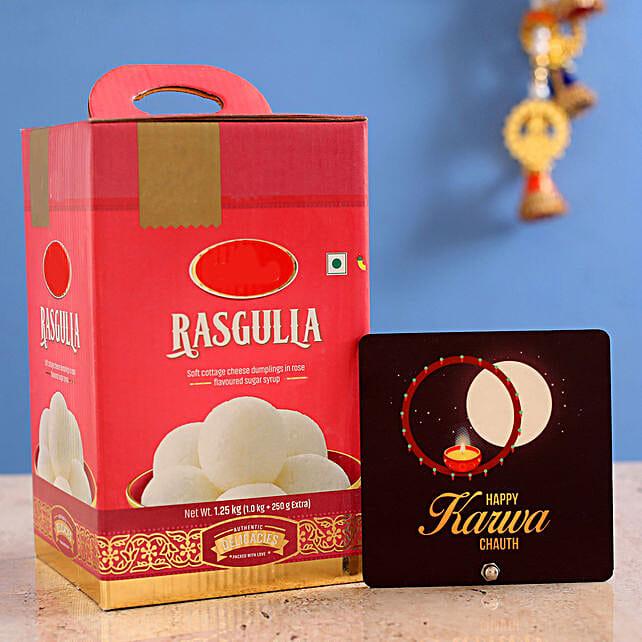 Karwa Moon Table Top With Rasgulla:Karwa Chauth Sargi