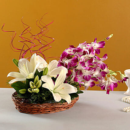 Lilies And Orchids Basket Arrangement:Send Mixed Flowers