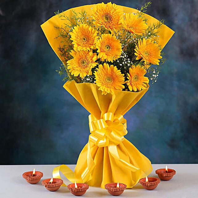Warmest Yellow Gerberas Bouquet & Clay Diyas
