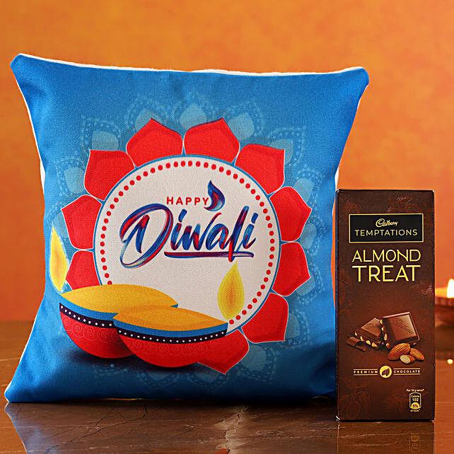 Floral Diwali Cushion Cadbury Almond Treat