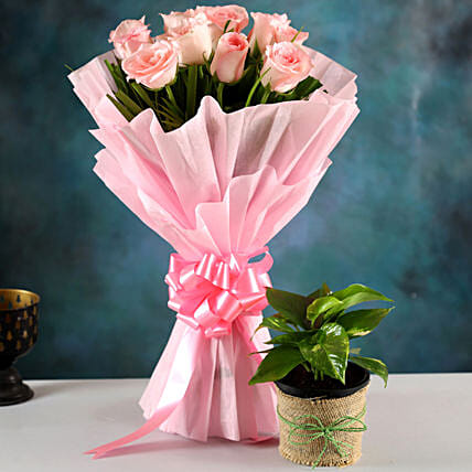 Send Plant And Rose Bouquet