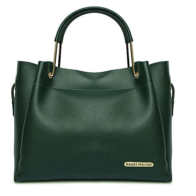 Bagsy Malone Green Stylish Tote Handbag:Handbags and Wallets