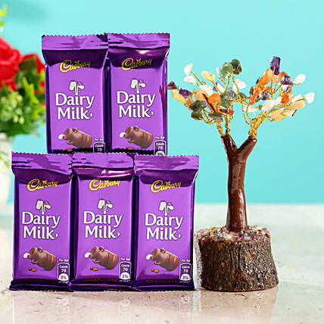 Colourful Stone Wish Tree & 6 Cadbury Dairy Milk