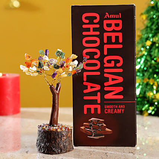 Colourful Stone Wish Tree & Amul Belgian Milk Chocolate