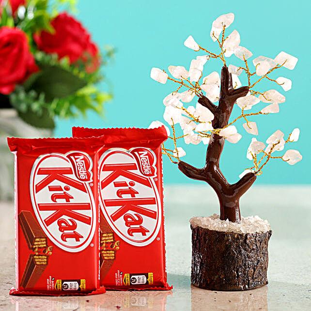 Rose Quartz Wish Tree & Kitkat