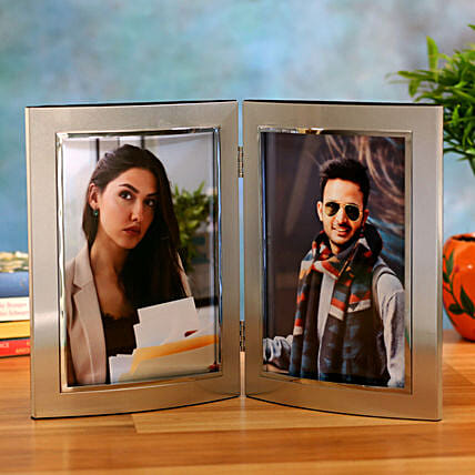 Online Personalised Double Photo Frame- Silver