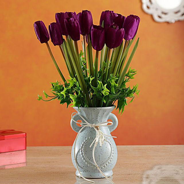 Puple Tulip Artificial Arragement:Artificial Flowers