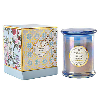 Veedaa Midnight Jasmine Scented Candle Jar:Handcrafted Gifts