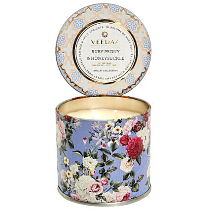 Veedaa Ruby Peony Honeysuckle Scented Candle Tin Candle