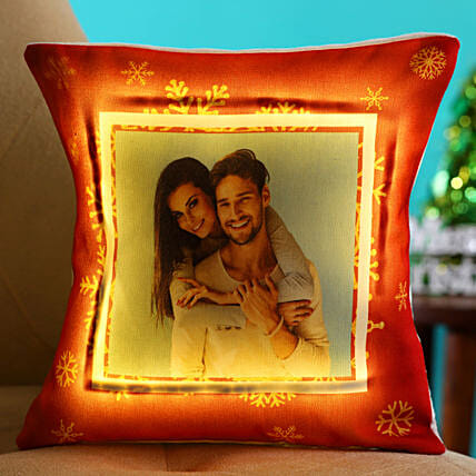 Merry Christmas Personalised LED Cushion Hand Delivery:Secret Santa Gift Ideas