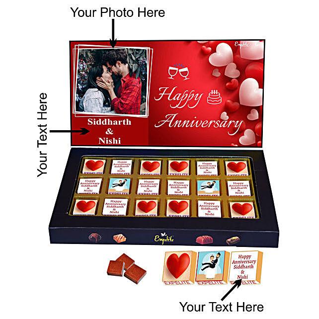 Send Couple Anniversary Personalised Chocolate:Customised Chocolates