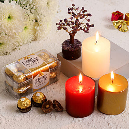 Xmas Special Candles With Amethyst Wish Tree Ferrero Rocher