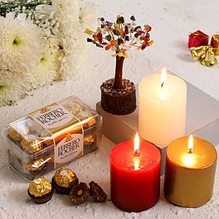 Xmas Special Candles With Colourful Wish Tree Ferrero Rocher