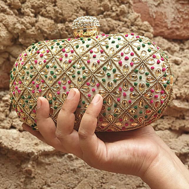 Customised Light Golden Clutch Bag