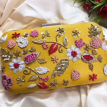Customised Yellow Clutch Bag 8 X 4 cms