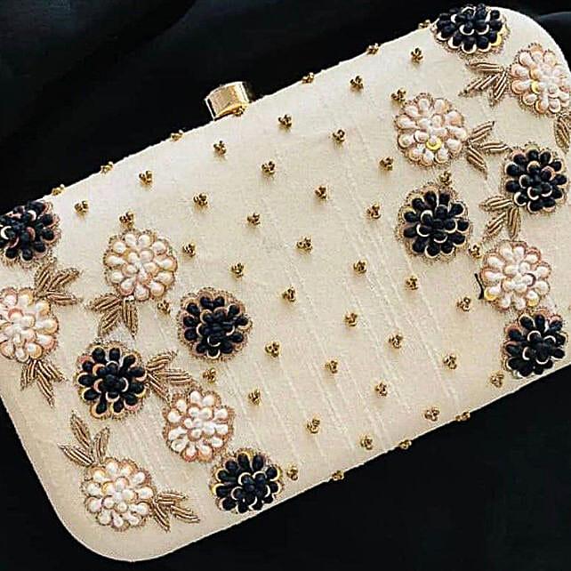 Lovely White Customised Clutch Bag