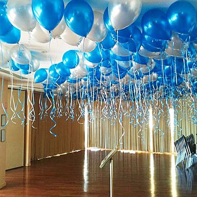 Blue and Silver Balloon Decor:Balloon Decoration Ideas