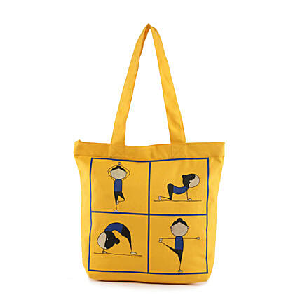 Yoga Pose Printed Solid Tote-Yellow:Tote Bags Gifts