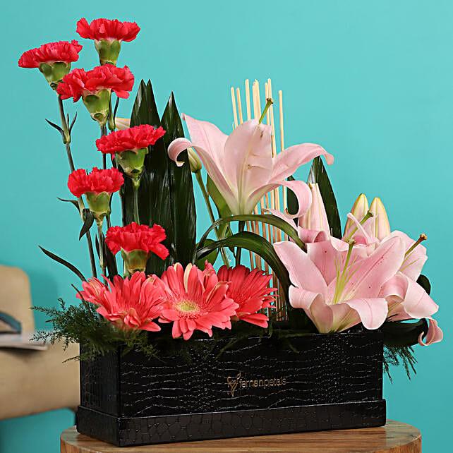 Online Pink Gerberas And Mixed Flowers Arrangement