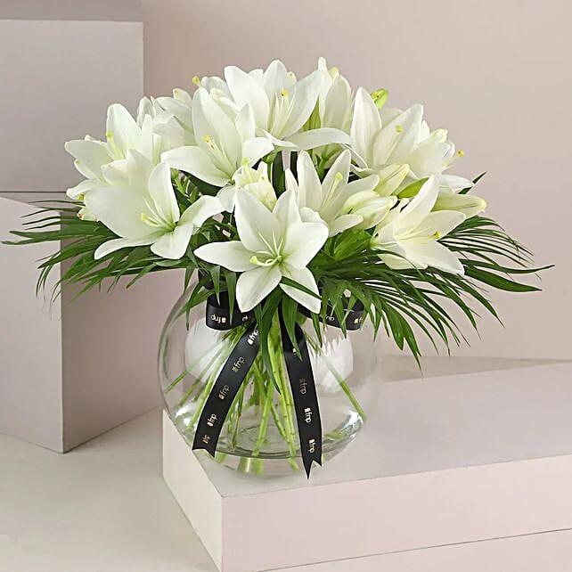 Online Lilies In Fishbowl Vase