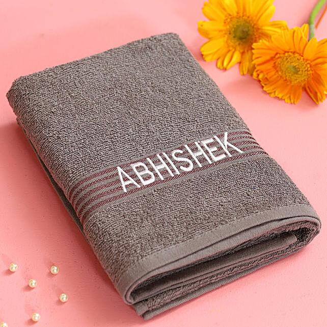 grey printed towel online:Personalised Towels