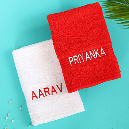 Personalised White & Red Cotton Towels
