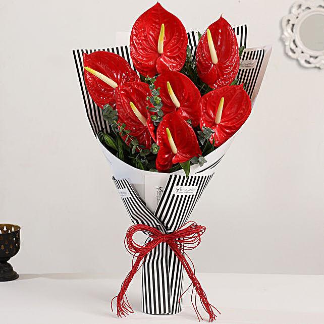 anthurium bouquet tied online:Send Anthuriums