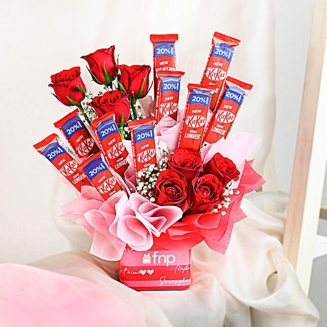 flowers chocolate arrangement for anniversary online