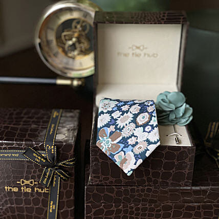 Online TEAL COTTON FLORAL NECKTIE WITH PINK LAPEL PIN